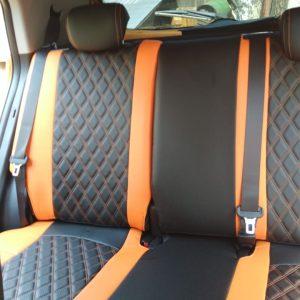 Цвет: черно-оранжевый. Дизайн: двойной ромб — 6900р. Декоративная строчка: двойная — 800р. Цвет ниток: оранжевый